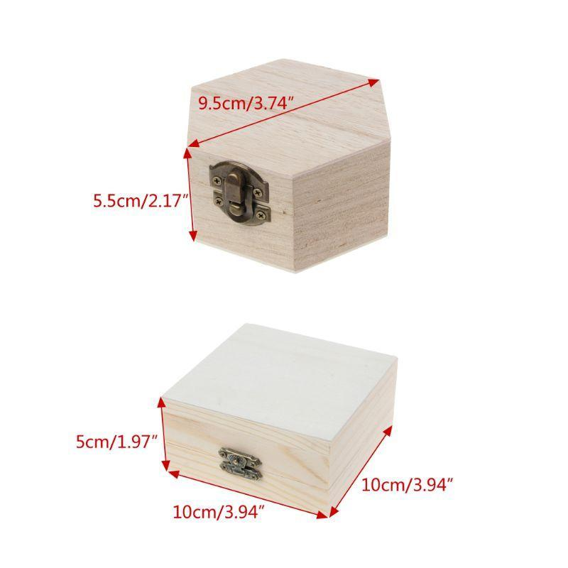 الحقائب المجوهرات، أكياس الخشب الطبيعي مربع غير مكتمل عادي تخزين خشبي قلم رصاص حالة diy الحرفية