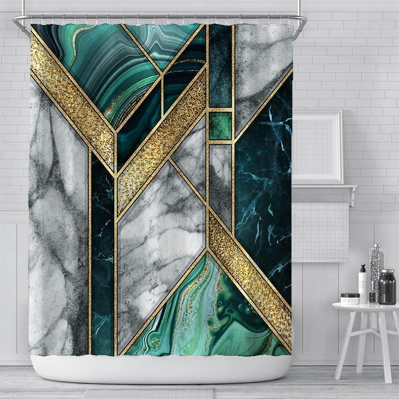 2021 Nouveau rideau de douche Creative Digital Impression Porte Rideaux Rideaux Rideaux Rideaux Rideaux de Polyester étanche Rideaux de douche Sunshade