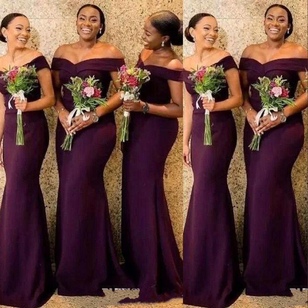 2021 새로운 포도 리젠시 아프리카 숄더 새틴 긴 신부 들러리 드레스 루칭 스윕 기차 웨딩 게스트 정식 하녀 명예 드레스