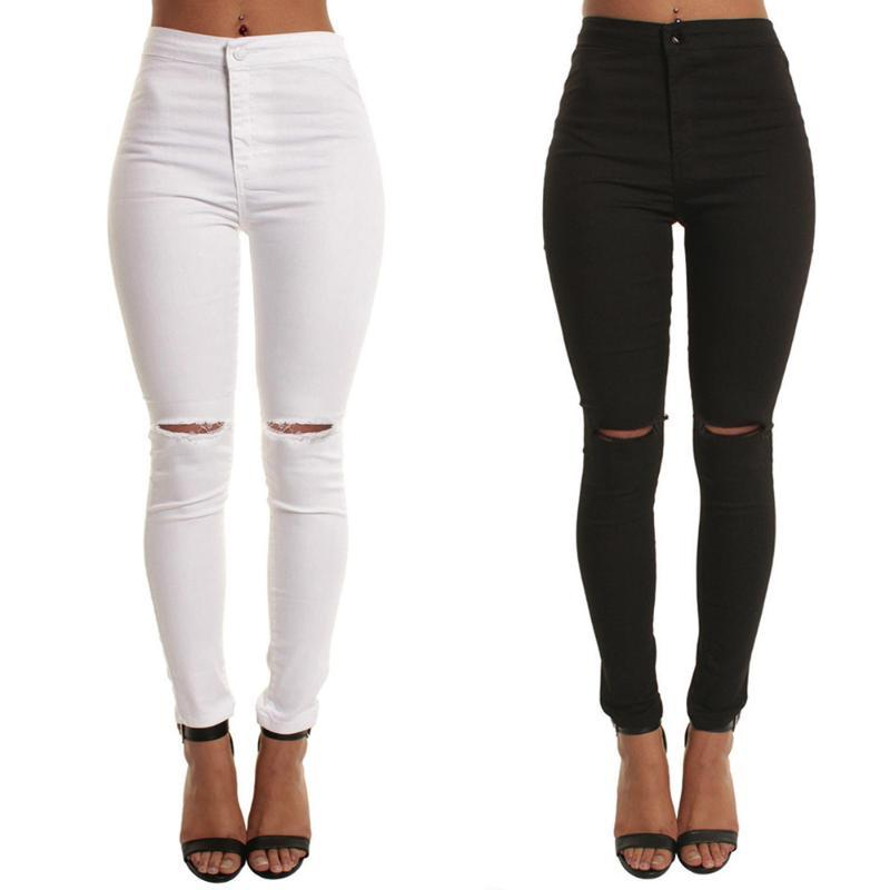Women Casual Slim Solid Hole Long Jeans Zippers Sexy Skinny Pants Daily Trousers Womens Dresses New Arrival 2021 Vestidos