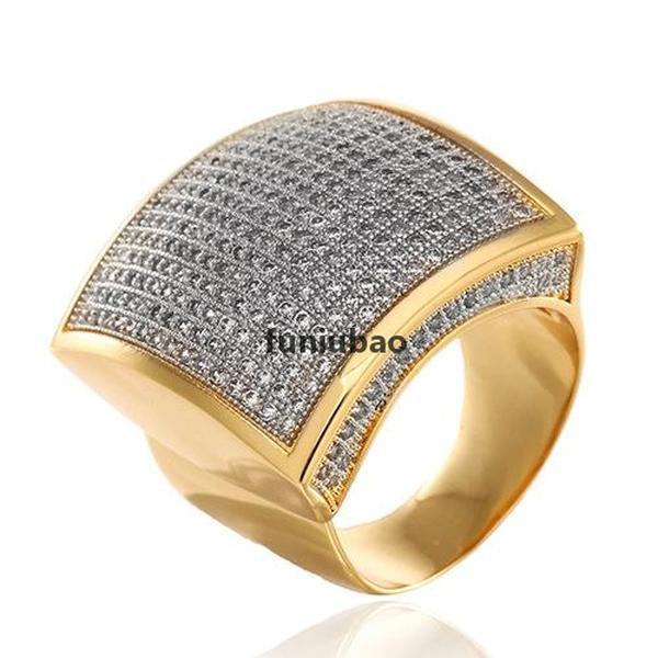 Erkeklerin altın gümüş yüzük kübik zirkonya hiphop takı 18 K altın kaplama buzlu elmas yüzük