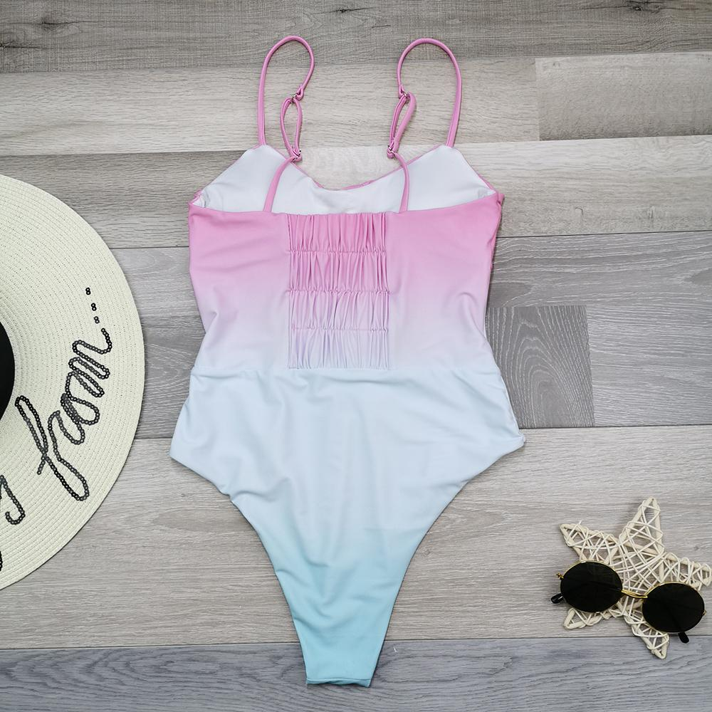 2021 Monokini Biquni Trikini Mayo Kadınlar Grdient Renkli Swimwer Bodysuit Bndge Böcek Kadını Kesip Yüz Yüzmek
