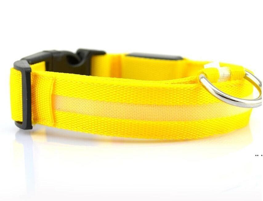 Nylon LED Pet Dog Collar,Night Safety Flashing Glow In The Dark Dog Leash,Dogs Luminous Fluorescent Collars Pet Supplies DHD5167