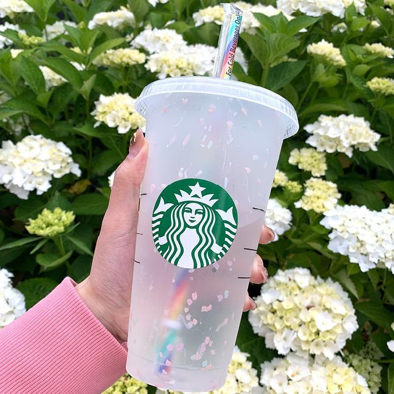 Starbucks Tumbler Sippy Чашки 710 мл Размеры Высококачественные Пластиковые Напитки Питание Кубок Русалка Богиня Фраппуччос Черный Цвет Изменение Радуга Сублимационные заготовки