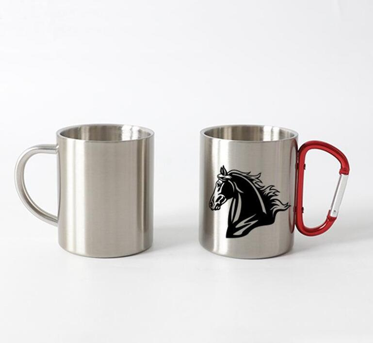 10oz Thermal transfer Coffee Mug with Carabiner Handle Customize Stainless Steel Sublimation Mug Portable Travel Cup Sea Shipping WWA138