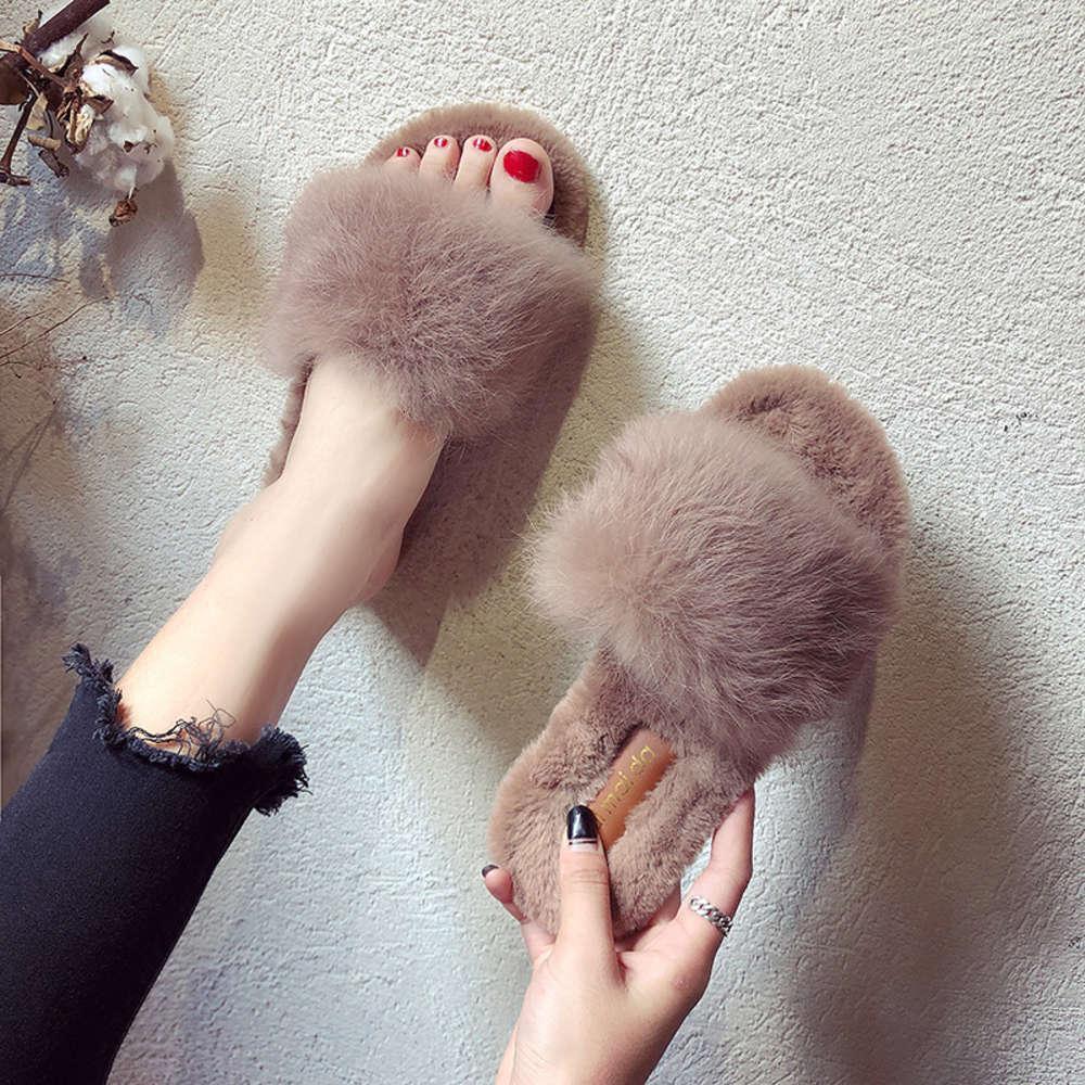 Sonbahar ve kış yeni moda kadınlar için Kore kıllı terlik