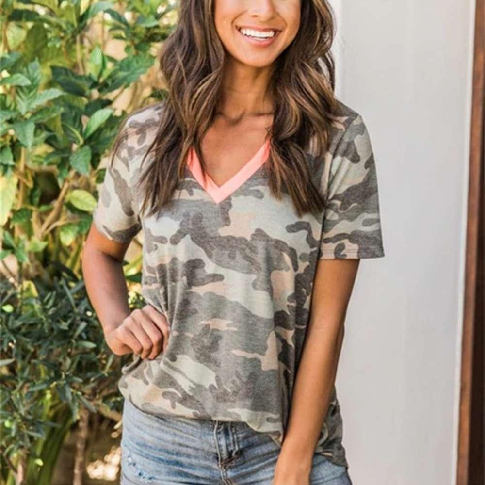 2020 Primavera y costuras de verano Impresión de camuflaje gris manga corta con cuello en V para mujer camiseta