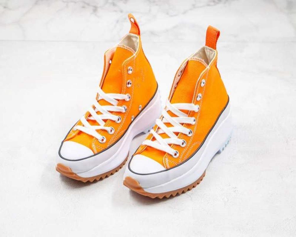 J.W. Anderson x Converse shoes الساخن بيع الأحذية النسائية جلد حقيقي متراصة البسيطة حقيبة عالية أعلى الحذاء والعتاد مكتنزة كعب الحذاء shiping مجانا
