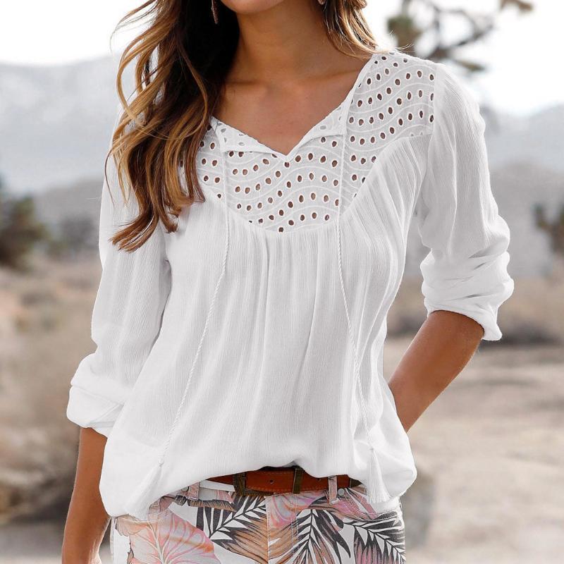 Женская футболка офисные кружева футболки для женщин Весна 2021 плюс размер дамы верхние рубашки элегантные V-образным вырезом футболка # T1G