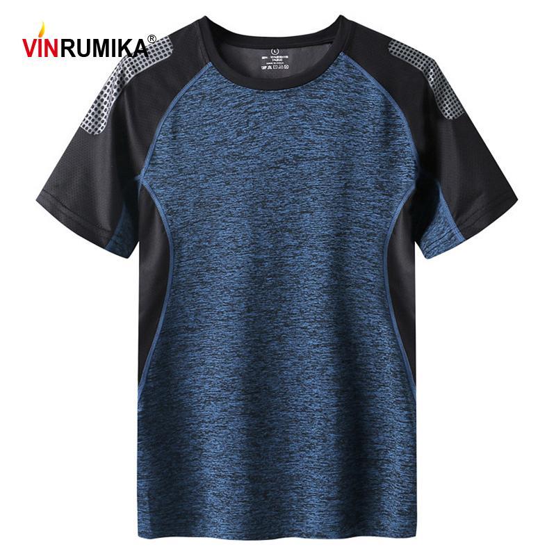 Men's Summer Ste Dry Sport T-shirt Homme Sports en plein air Casual Couleur O-Cou Grey Manches courtes T-shirts T-shirts Tops 4XL 5XL 6XL 7XL 210301
