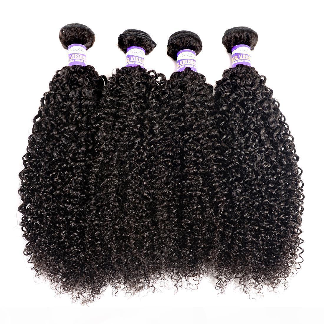 9A Brezilyalı İnsan Saç Kinky Kıvırcık Bakire Saç 3 4 Demetleri Kinky Kıvırcık İnsan Saç Uzantıları