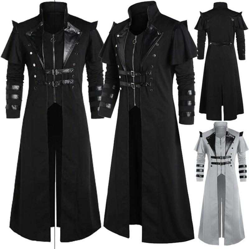 Vintage longo jaqueta negro homens roupas steampunk punk jaqueta homens oversize retrô guerreiro medieval cavaleiro casaco masculino