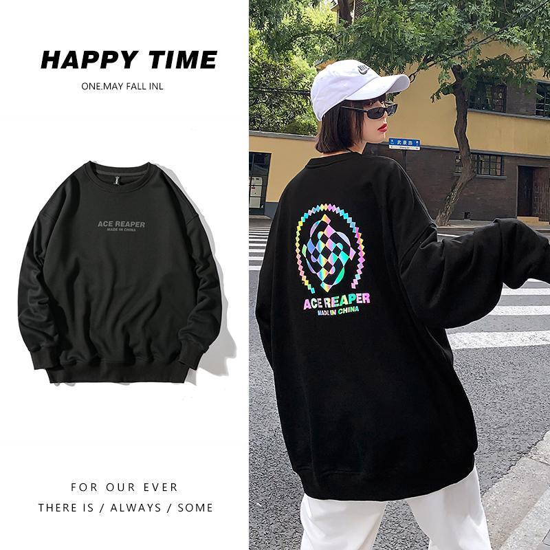 Damen Hoodies Sweatshirts Womens Einfaches Design für Frauen Reflektierende Muster Rundhalsausschnitt Pullovers und übergroße Streetwear Drop Schulter t