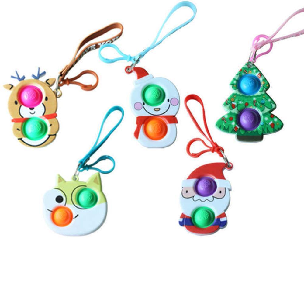 LANYARD Fidget Sensory Bulles Popper Keine Bague Poussez POO POO-Son doigt Puzzle Jouets 2021 Noël Santa Clause Elk Snowman Arbre de Noël Cartoon Charmes G82ac01