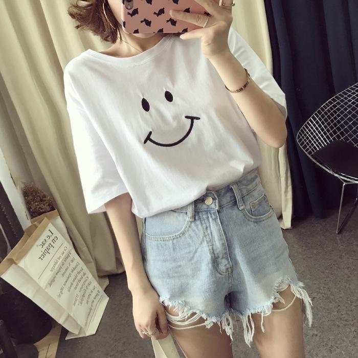 Цветная футболка женский с коротким рукавом улыбка мультфильм 2021 новый корейский свободный простой универсальный верх