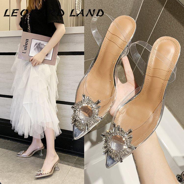 Сандалии леопардовые лета лето 2021 новейшие прозрачные кристаллические туфли на высоком каблуке шпилька женский плюс размер 41 HYGC-106
