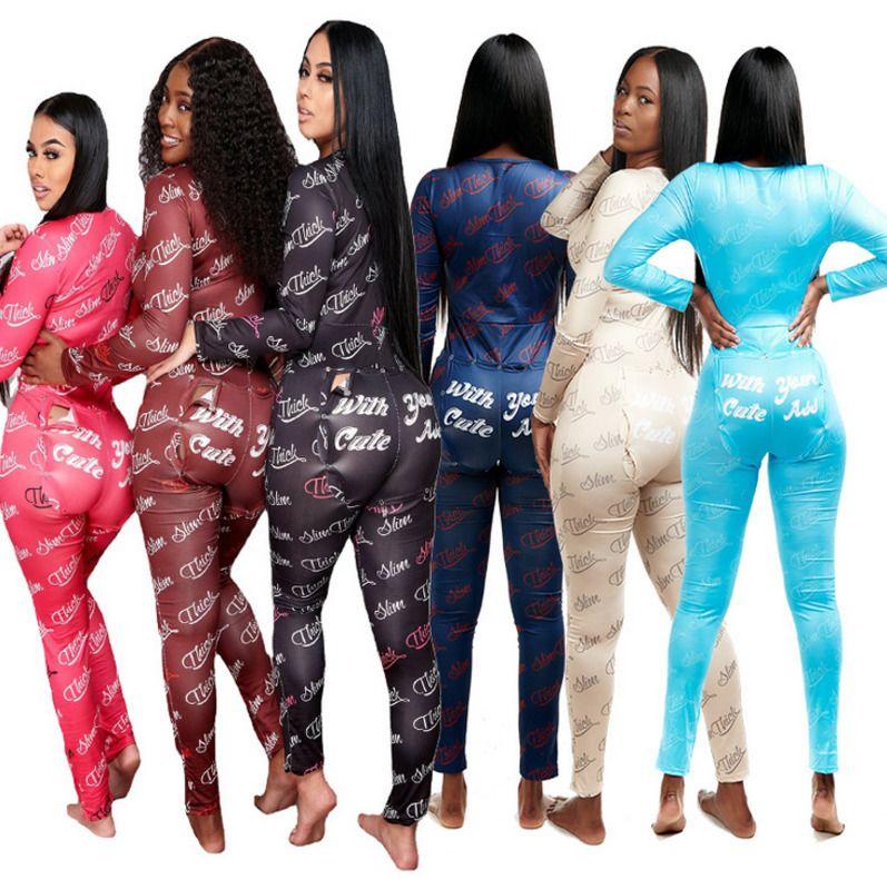 Women Jumpsuits Rompers Designer Pajama Onesies Letter Nightwear Bodysuit Workout Button Skinny V-neck Long Pants 818