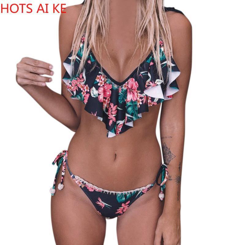 Badeanzüge Frauen Lace-Up Strap Rüschen Floral Gedruckt Bikini Bademode Casual Bathing Anzüge Weibliche Beachwear