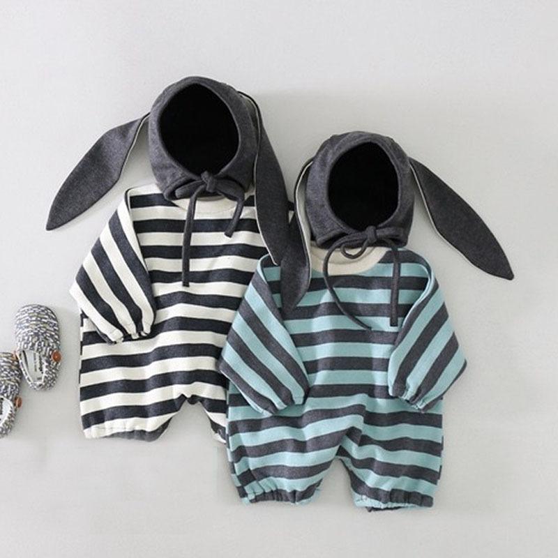 Milancel детская одежда полосатые младенческие мальчики комбинезоны корейские девочки девочек с зайчиком 210308