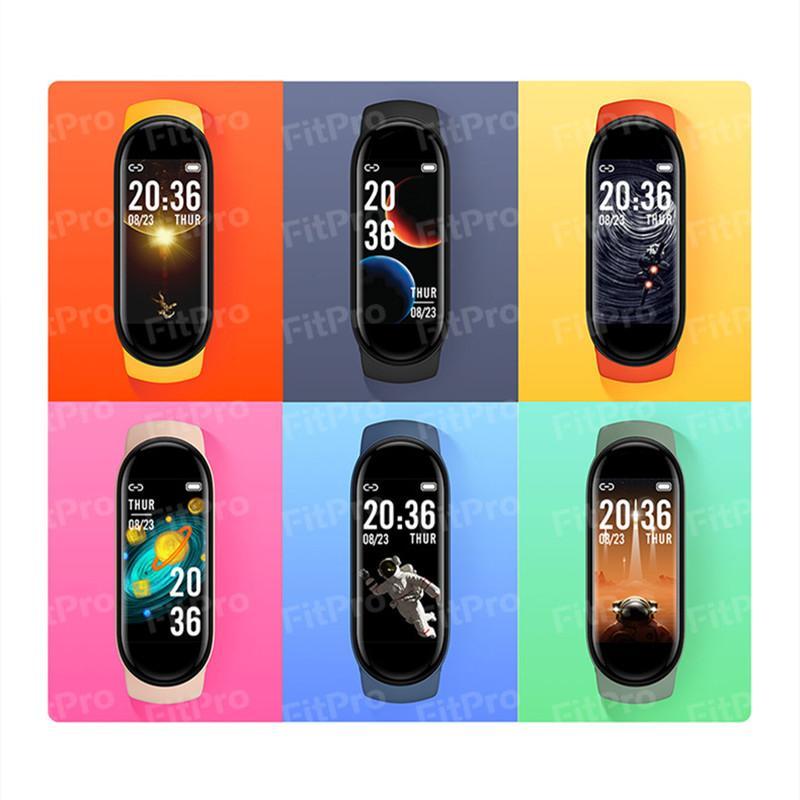 M6 Smart Wristbands Bracciale Braccialetto orologio Fitness Tracker Real Frequenza cardiaca Blood Pressure Monitor Schermo a colori IP67 Impermeabile per lo sport con imballaggio al dettaglio DHL