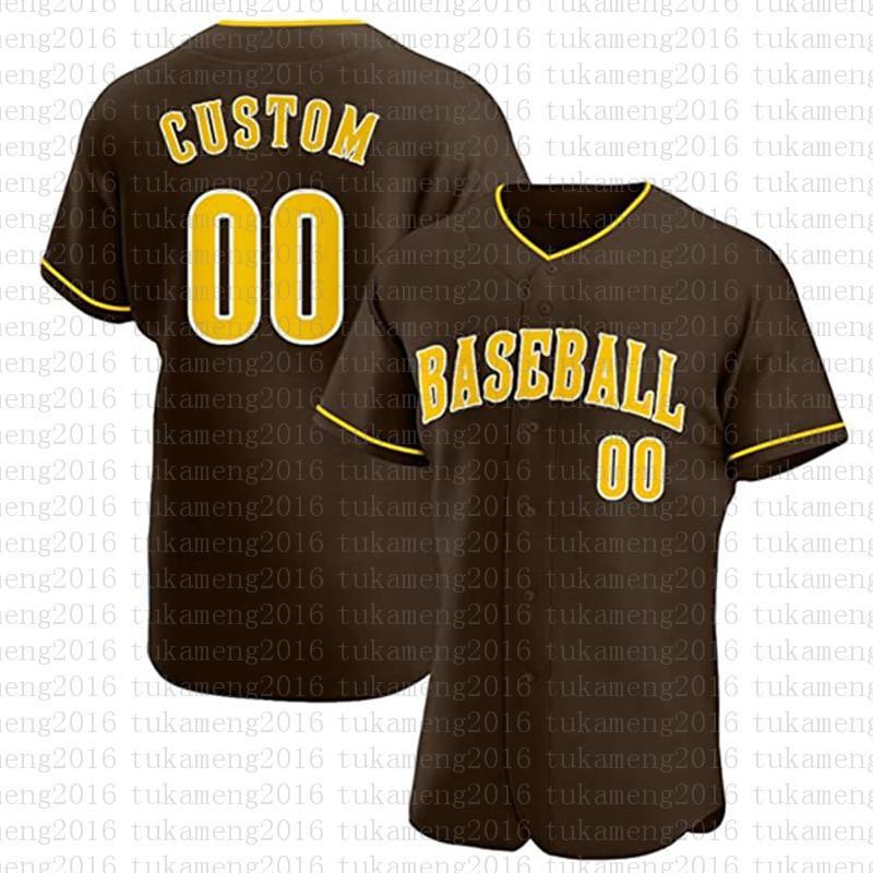 مخصص سان دييغو الجدة زر أسفل البيسبول الفانيلة شخصية مراوح القميص للرجال تيماني الاسم والعدد للحصول على هدية مخيط البني