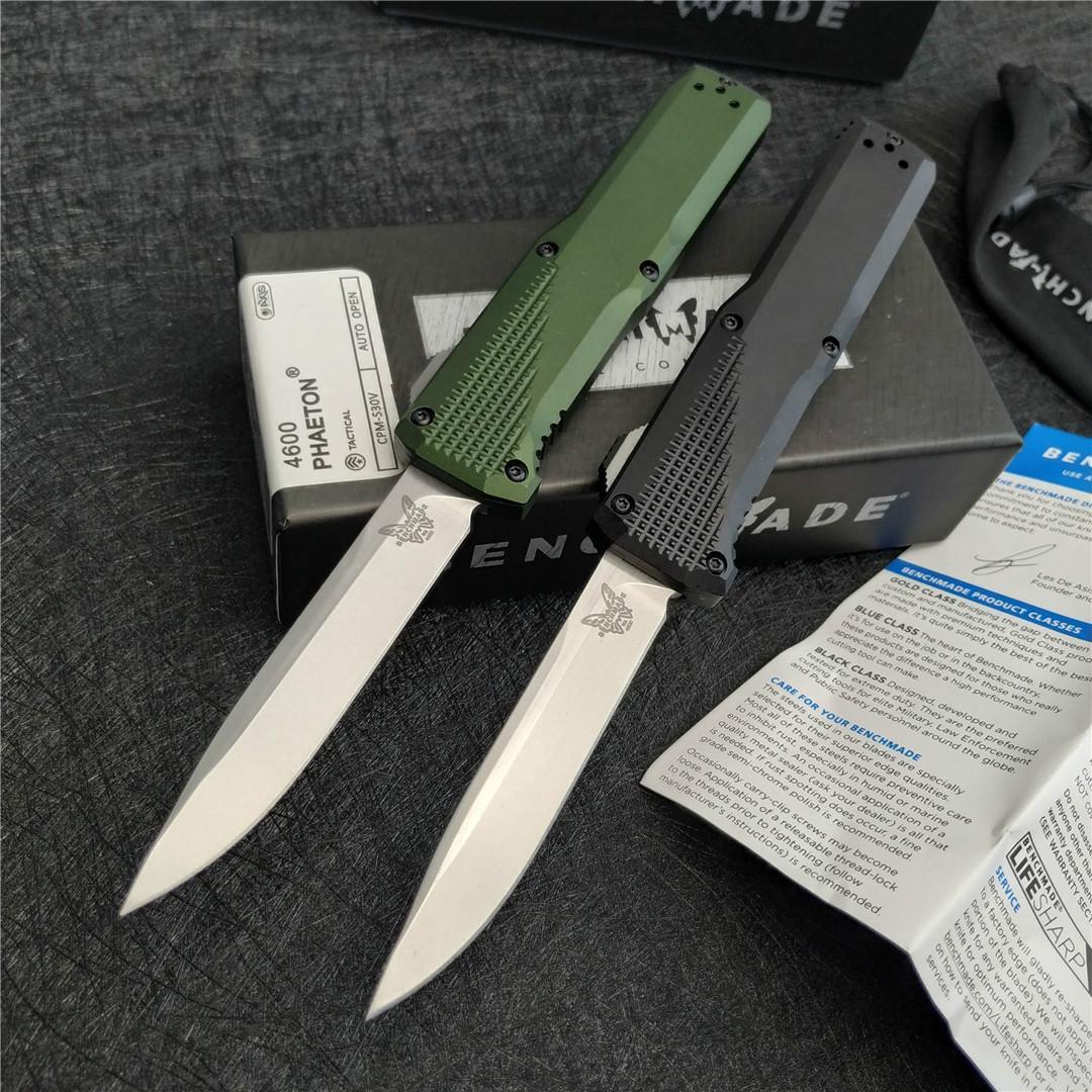 """벤치 메이드 4600 자동 칼 3.45 """"CPM-S30V 블레이드 양극 처리 된 6061-T6 알루미늄 핸들 야외 캠핑 생존 자기 방어 EDC 전술 칼"""