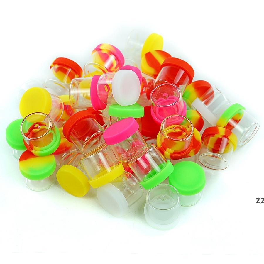 6 ml 500x Antihaftglas Öl Gläser Wachs Behälterkasten DAB E-Zigarette Zubehör Konzentratbehälter Flasche Silikondeckel Hwd9944