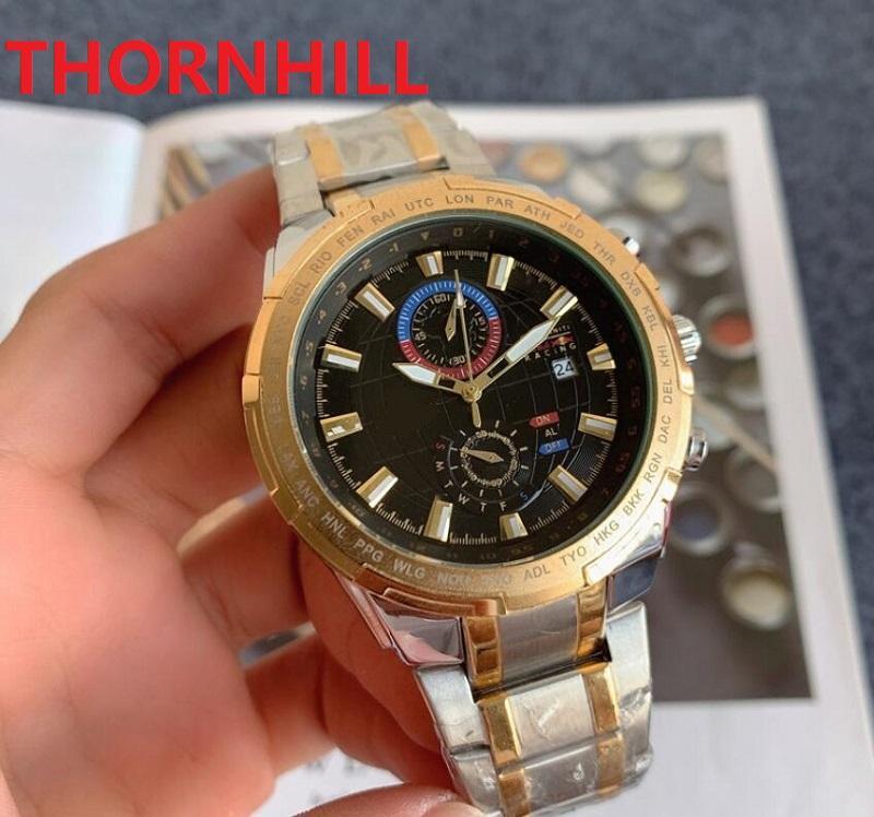 Top mens full stainless steel watch multi functional famous Wristwatches reloj de lujo quartz movement auto date Sapphire Glass Classic Model WristWatch