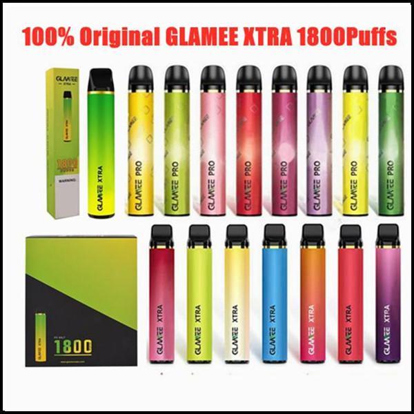 Glamee Xtra 일회용 포드 키트 5.8ml 프리 쿼리 1800 퍼프 1200mAh Vape 펜 스틱 바 장치 XXL Onee Plus Max DHL 무료