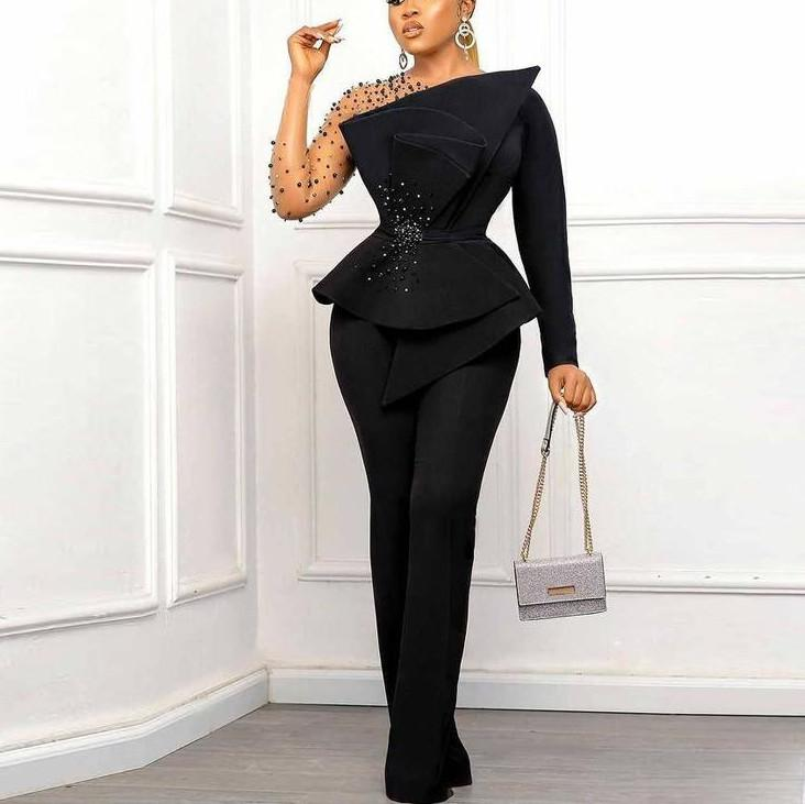 African Black Jumpsuit Evening Dresses Beaded Prom Party Gowns with Long Sleeves Pleat Satin Ankle Length Females Outfit Pant Suits