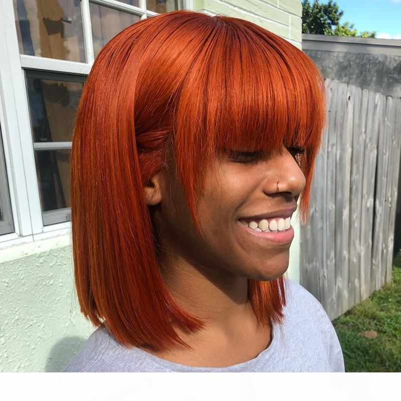 Brezilyalı Ombre Renkli Kısa Bob Peruk Düz İnsan Saç Peruk Bangs 4 # 30 # T1B 27 Perulu Yok Dantel Peruk 99j Turuncu Ginger