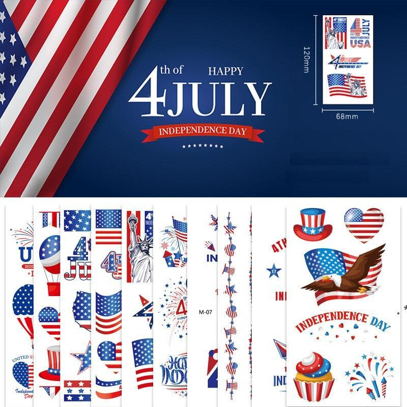 American Unabhängigkeit Tag Flagge Tätowierung Aufkleber Temporäre Gesicht Arm Körper Makeup Aufkleber 4. Juli Patriotische Tattoo Aufkleber OWA4024