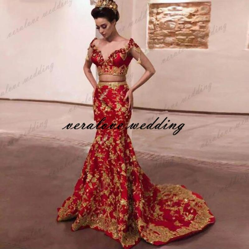 Two Pieces Sexy Mermaid Evening Dresses India Dubai Saudi Arabic Black Gold Lace Robe De Soiree Prom Party Gowns Occasion Party Dress