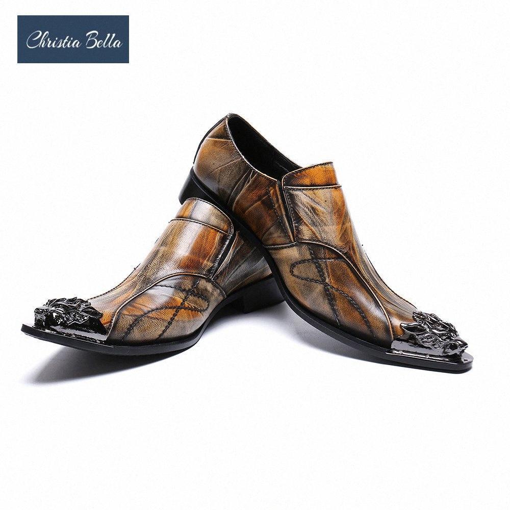 크리스티아 벨라 럭셔리 남성 드레스 신발 갈색 정품 가죽 남성 신발 철 뾰족한 발가락 사업 Sepatu Pria j3zx #