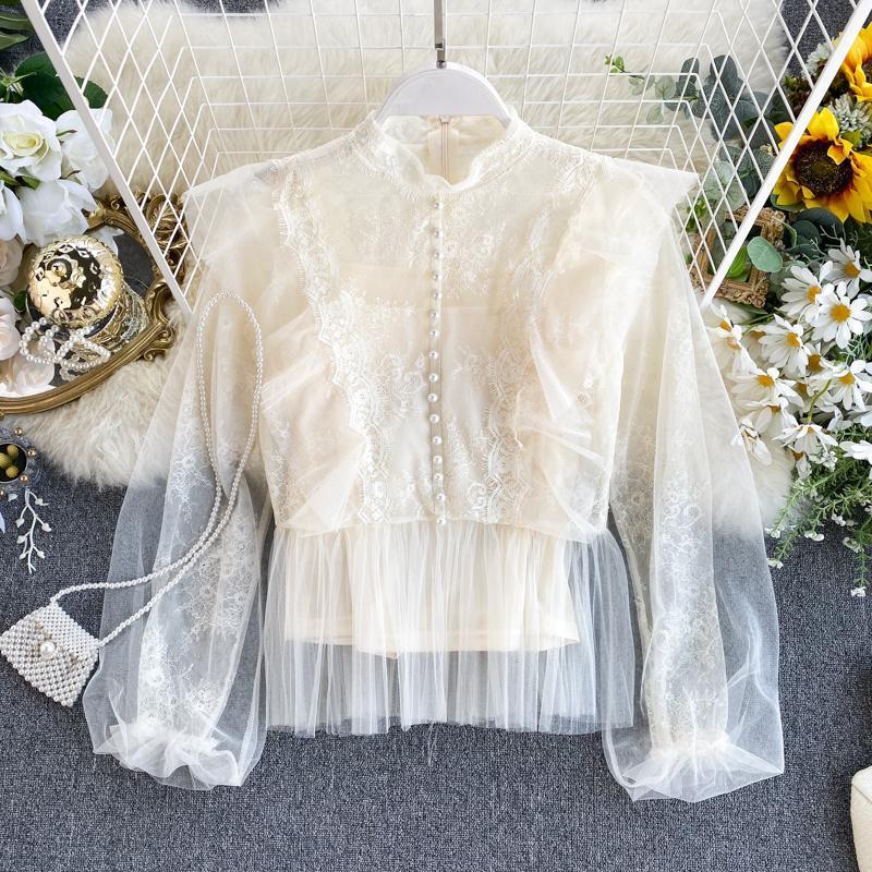 Kadın Bluz Gömlek Bluz Kadın Örgü İplik Ruffled Boncuklu Dantel Lady Üst Femme 0sh96