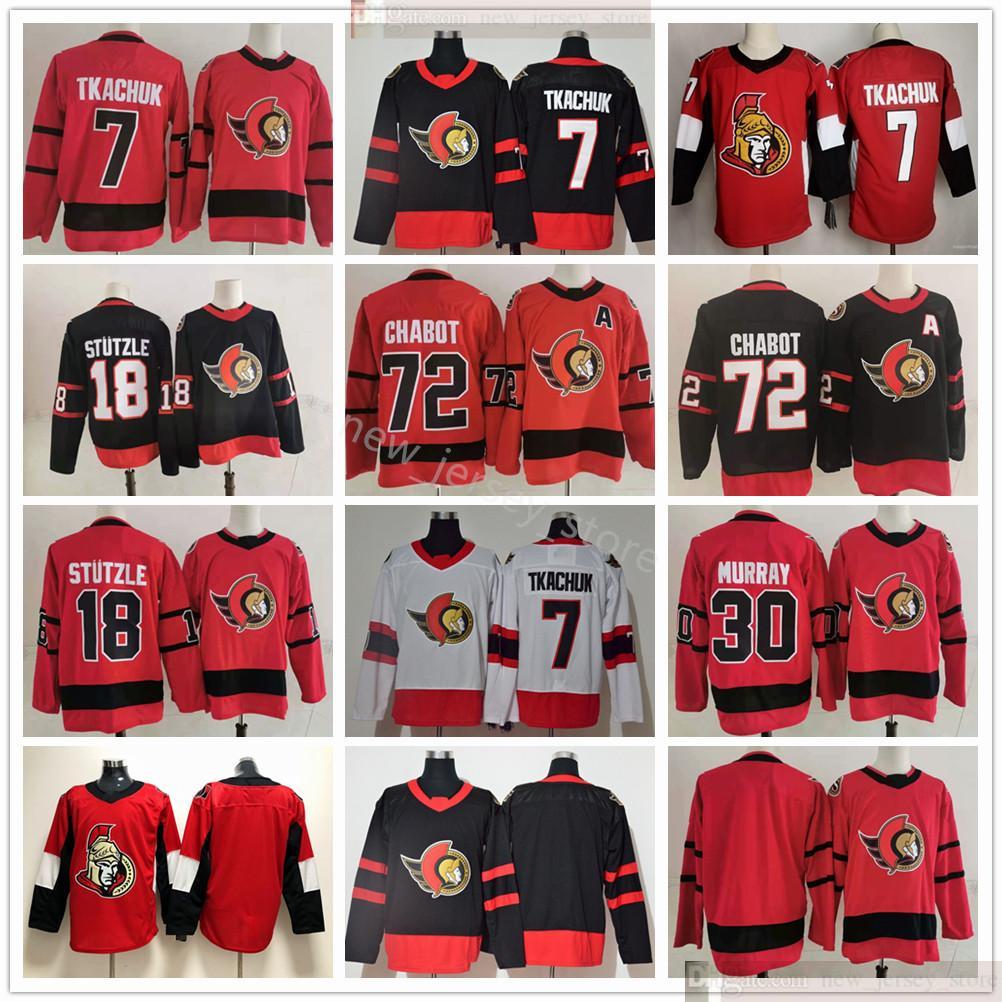 2021 2022 Retro Retro Ottawa Senadores 7 Brady Tkachuk 72 Thomas Chabot 30 Matt Murray 18 Tim Stutzle Hockey Jerseys Negro Rojo Blanco