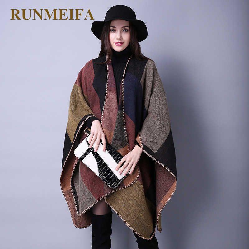 Mode Winter Warme Plaid Ponchos und Umhänge Für Frauen Übergroße Tücher Wraps Cashmere Pashmina Weibliche Bufanda Mujer 210925