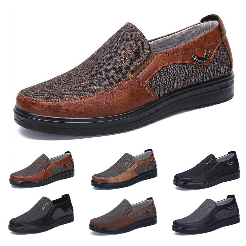 21 lightweight Business style mens shoes comfortable breathable black brown leisure bronze navy khaki camel soft flats bottoms men multi casual sneakers 38-44