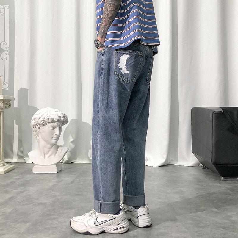 Design Trend coreano Pantaloni sciolti e dritti, jeans da uomo versatile ampia gamba