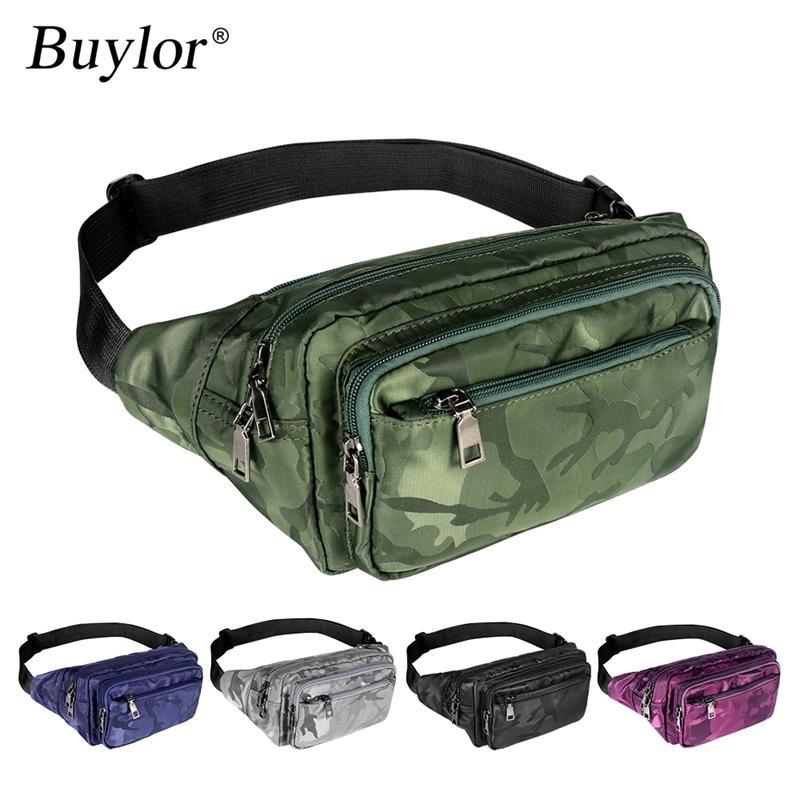 Buylor талия пакет мужчин спортивный ремень сумка новейшая сумка для путешествий bum камуфляж талия сумка fanny pack унисекс водонепроницаемый телефон кошелек сумка 210311
