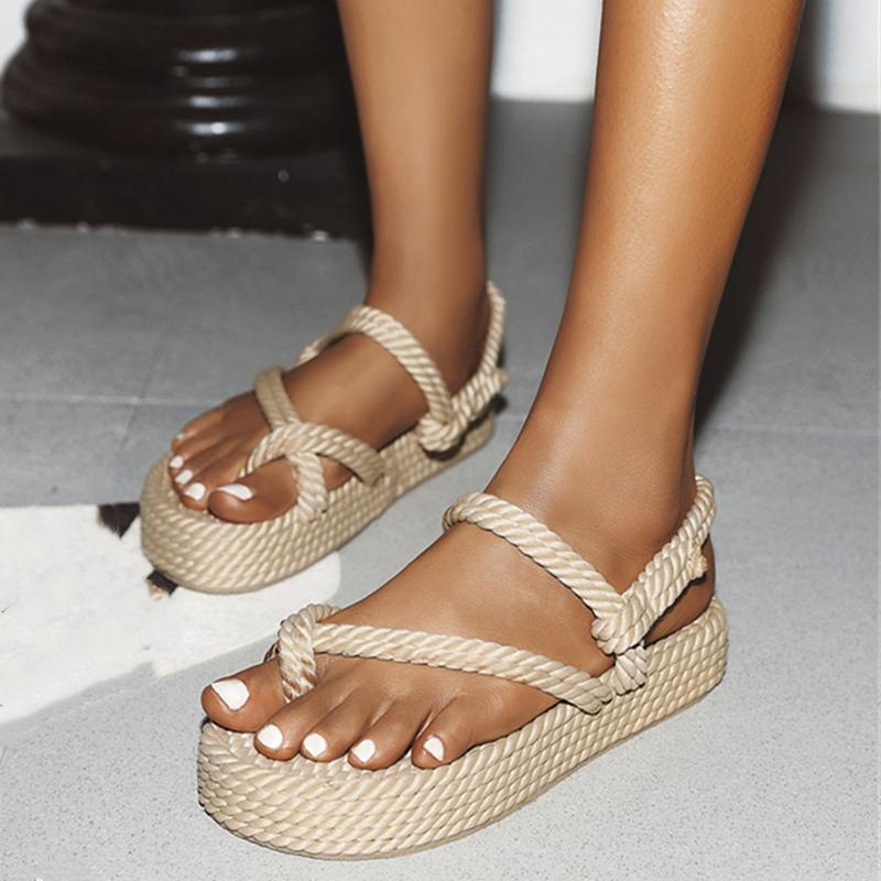 New Summer Women Flat Sandals Casual Rope Female Wedge Beach Shoes Woman Comfortable Platform Sandals For Girls Black Beige 210226