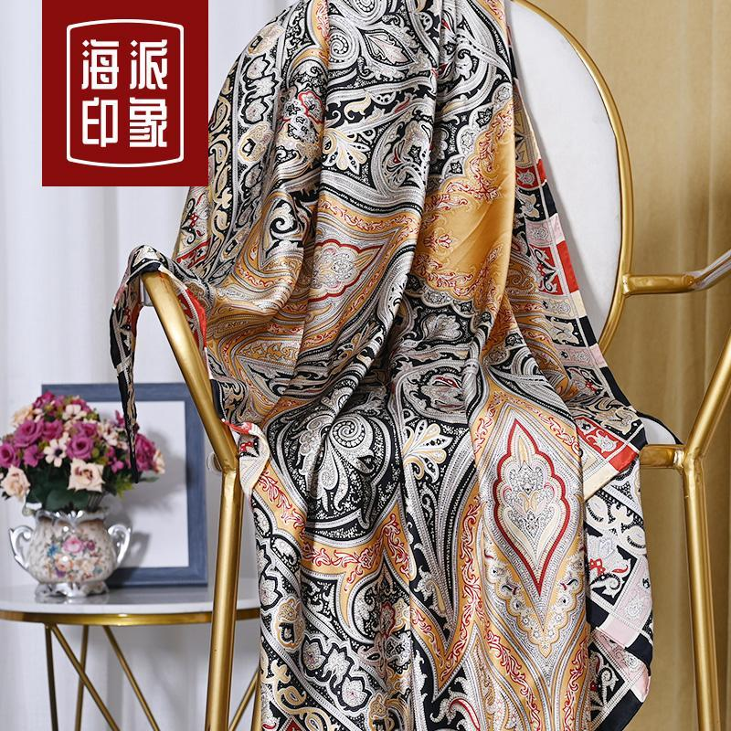 Шарфы настоящий шелковый леди большой квадратный шарф тяжелый вес шелковицы подарочная коробка осень и зима Ханчжоу