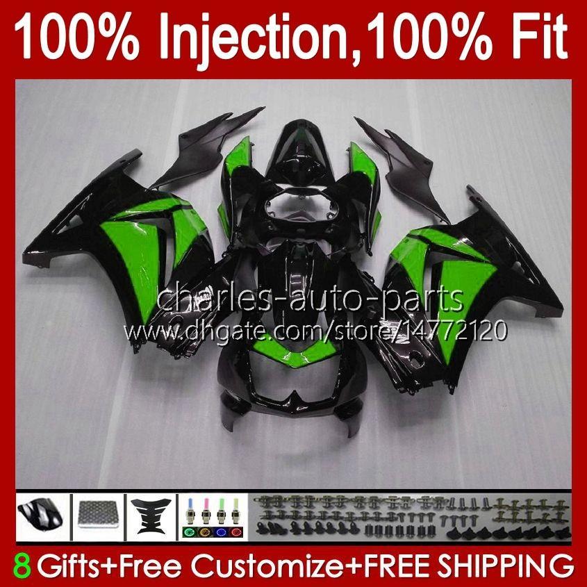 Injektion för Kawasaki Ninja Green Gray ZX250R EX250R ZX-250 ZX 250R 13HC.153 ZX250 2008 2009 2010 2011 2012 EX250 08 09 10 11 12 FAIRING