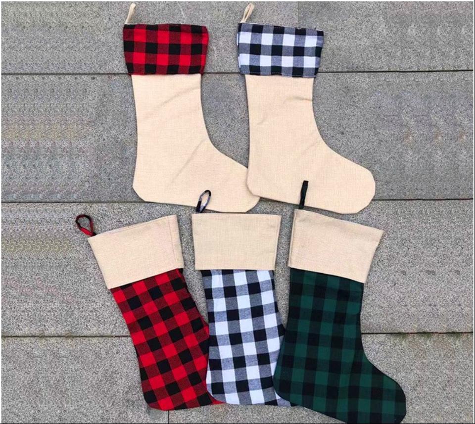 """15.8x11.8 """"weiß rot karierte weihnachtsstrumpf sublime leere baum ornament dekoration geschenk tasche für kinder süßigkeiten taschen xmas sock anhänger in bull großhandel aaa"""