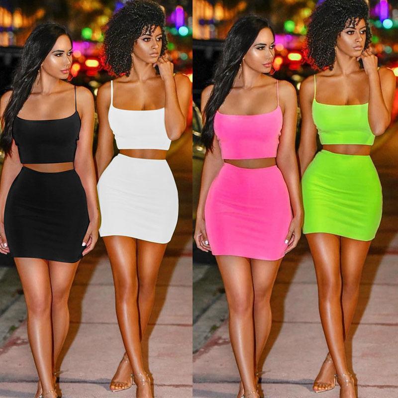 Женские лето 2 двух частей одежда флуоресцентный жилет без рукавов танкового урожая верхняя мини-юбки наряды набор Sexy Streetwear ночной клуб одежды