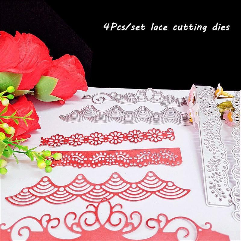 Painting Supplies 4Pcs Lace Deco Metal Christmas Dies 2021 Scrapbooking Card Embossing Crafts Stencil Stamps And Cutting