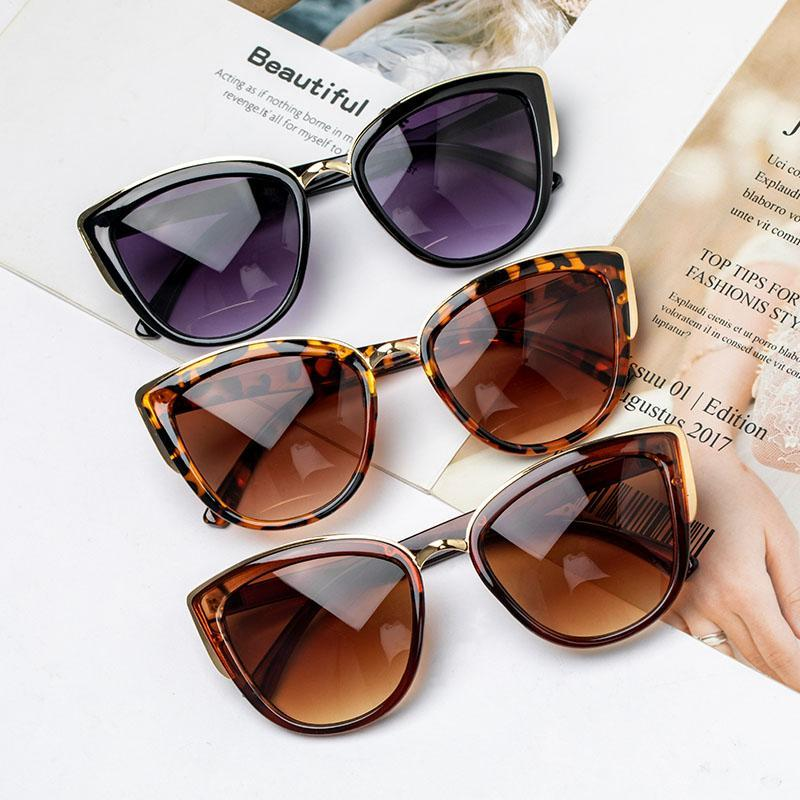 2021 Nuovo Brand Designer Cateye Occhiali da sole Donne Cat Eye Occhiali da sole Moda Leopard Vintage Metallo Retro Lunette De Sol UV400