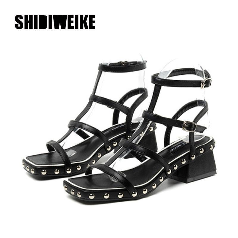 Сандалии мода заклепки клин женские туфли платформы высокие летние римские VA962