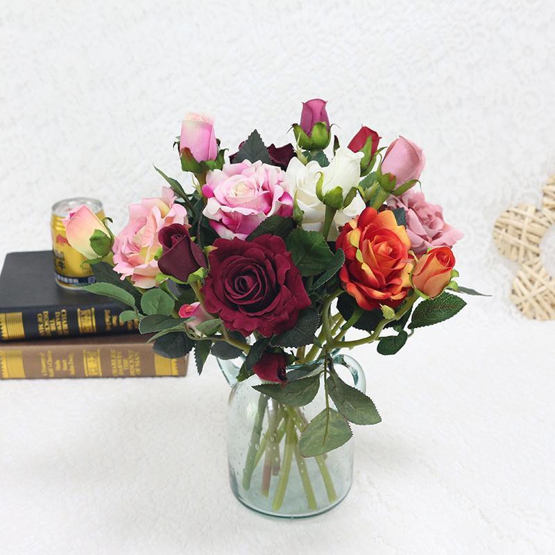Декоративные цветы венки красивые 3 головы розы ветвь ветвь Флер шелк искусственное украшение свадьбы розовые флоры искусственные фальшивые