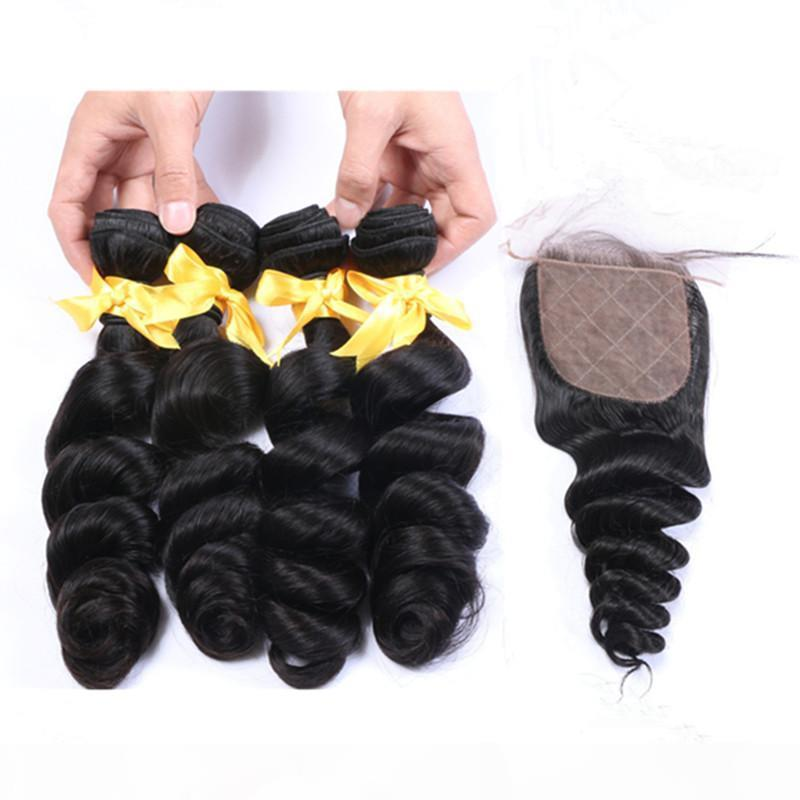 Свободная волна Девы Индийские человеческие пакеты волос имеют предложения 4шт с 4х4 шелковым базовым базовым базовым замклением 5шт. Лот волнистые волосы плетения с шелковым закрытием